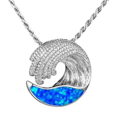 Ocean Wave Pendant With...